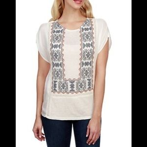 Lucky Brand ivory embroidered lace top